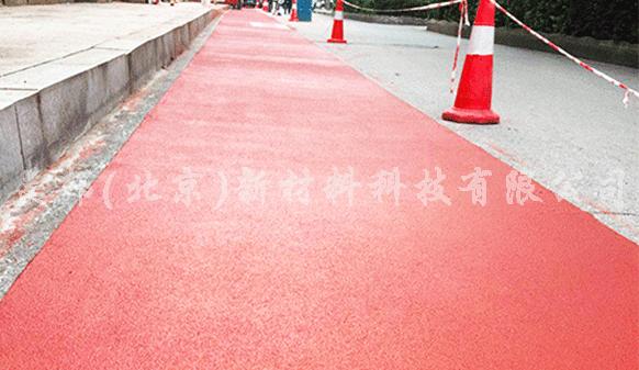 长沙银杉路铺装沥路力彩色路面